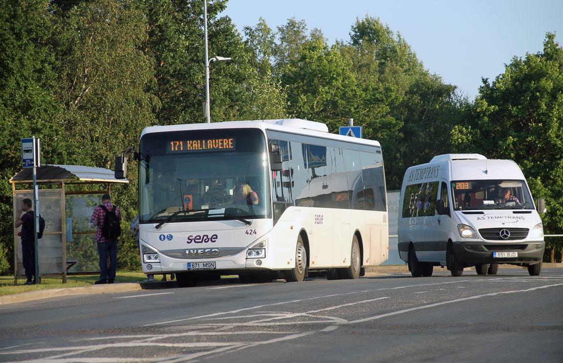Tallinn, IVECO Crossway LE Line 10.8M № 424 Maardu, Mercedes-Benz Sprinter 516CDI № 651 BJD