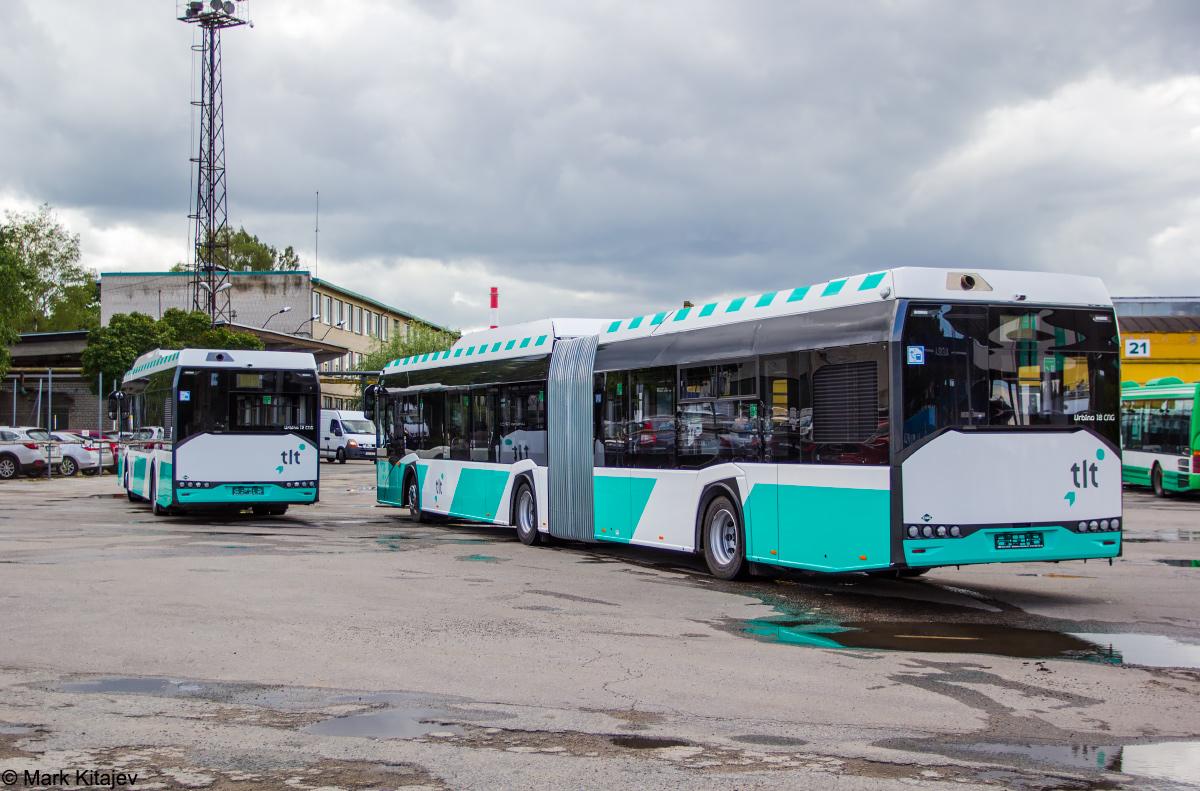Tallinn, Solaris Urbino IV 12 CNG № 1348 Tallinn, Solaris Urbino IV 18 CNG № 2440 Tallinn — Esimesed Solarise gaasibussid Tallinna Linnatranspordi AS-s